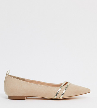 London Rebel wide fit pointed flat ballets in beige and gold