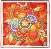 """Salvatore Ferragamo Women's Vintage Red Floral Silk Scarf, 34"""" x 34"""""""