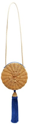 Wai Wai - Balaio Tasselled Woven-rattan Cross-body Bag - Womens - Blue