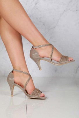 Miss Diva Olena criss cross diamante open toe sandal