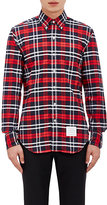 Thom Browne MEN'S PLAID OXFORD CLOTH SHIRT-RED SIZE 1