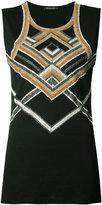 Balmain embellished tank top - women - Cotton/Glass Fiber/Brass - 40