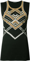 Balmain embellished tank top - women - Cotton/Glass Fiber/Brass - 42