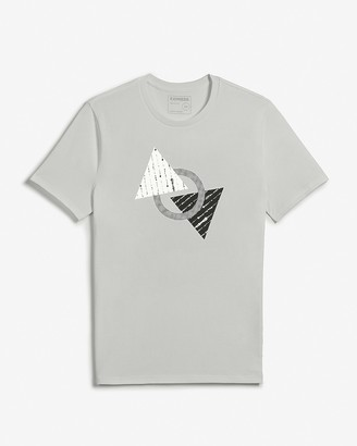 Express Gray Geometric Graphic T-Shirt