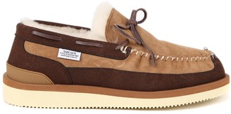 Suicoke Suede Loafers With Shearling Lining