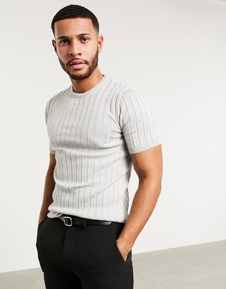 ASOS DESIGN knitted muscle fit rib t-shirt in gray twist