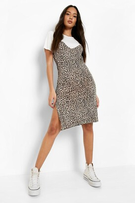 boohoo Leopard Print Slip Dress