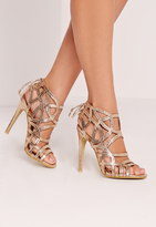 Missguided Strappy Lace Back Heeled Sandal Gold