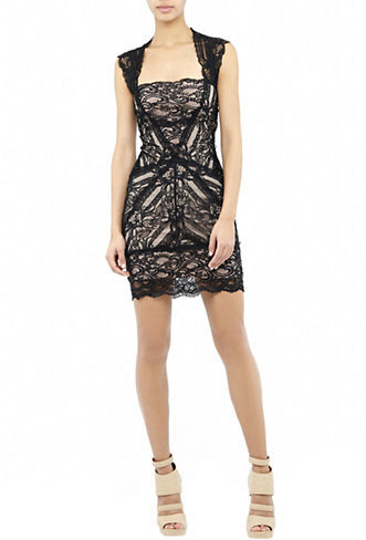 Nicole Miller Lace Open-Back Dress