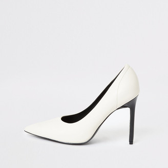 River Island White pointed toe skinny heel court shoes