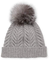 Sofia Cashmere Staghorn Cable Knit Hat w/ Fur Pompom, Gray