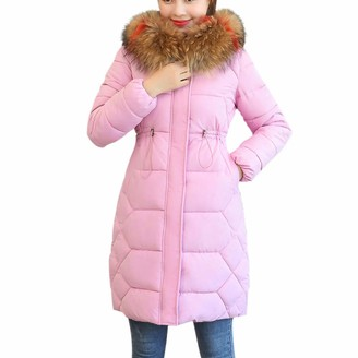 TOPKEAL Coat Women Winter Hooded Solid Thick Fur Cotton Parka Slim Jacket Ladies Long Sleeve Warm Overcoat Casual Outwear (Black Large)