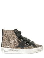 Golden Goose Leopard Print Suede High Top Sneakers
