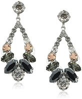 "Sorrelli Gold Vermeil"" Navette and Round Crystal Adornment Post Drop Earrings"