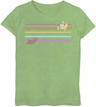 Licensed Character Girls 6-16 Nickelodeon JoJo Siwa Rainbow Stripes Peace Sign Top