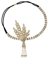 Babeyond Art Deco 1920's Flapper Great Gatsby Inspired Leaf Medallion Pearl Headpiece Headband (Gold)