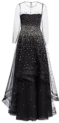 Ahluwalia Helena Embellished Illusion Gown