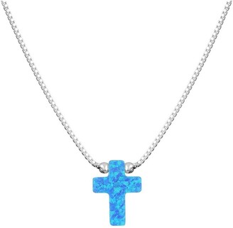 Mocha SS Mini Cross Fine Necklace-Blue