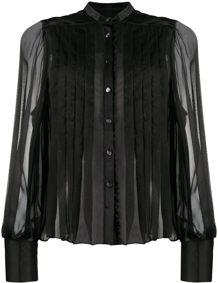 Temperley London Pleated Chiffon And Satin Blouse