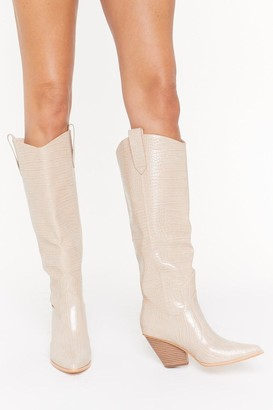 Nasty Gal Womens The Wild Western Faux Leather Croc Boots - Beige - 3