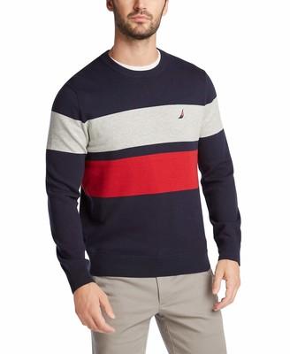 Nautica Men's Classic Fit Crewneck Engineered Stripe Sweater