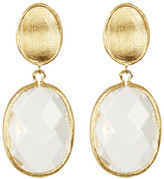 Rivka Friedman 18K Gold Clad Faceted Rock Crystal Oval Drop Satin Earrings