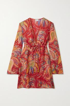Etro Itaca Tasseled Paisley-print Ramie Mini Dress - Red