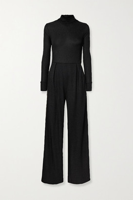 Twenty Montreal Kent Metallic Striped Stretch-crepe Turtleneck Jumpsuit - Black