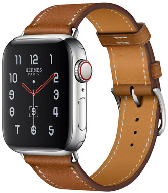 Apple Watch Herms GPS + Cellular 40mm Stainless Steel Case with Fauve Barenia Leather Single Tour
