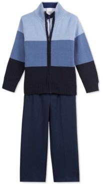 Calvin Klein Toddler Boys 3-Pc. Colorblocked Sweater, Dress Shirt & Pants Set