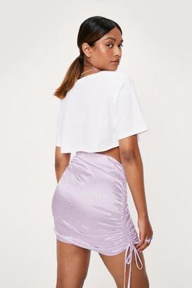 Nasty Gal Womens Ruched Side Satin Animal Mini Skirt - Purple - L