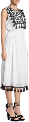 philosophy Tassel & Embroidered Midi Dress