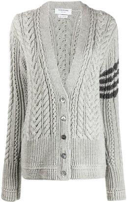 Thom Browne Aran cable 4-bar cardigan