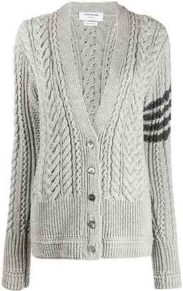 Thom Browne Cable-Knit 4-Bar Stripe Cardigan