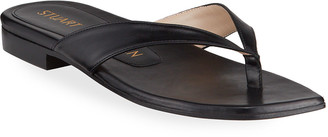Stuart Weitzman Aldona Flat Leather Thong Sandals