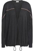 Brunello Cucinelli Bead-embellished Metallic-paneled Cashmere And Silk-blend Cardigan