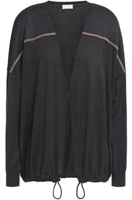Brunello Cucinelli Bead-embellished Metallic-paneled Cashmere And Silk-blend Cardigan