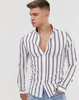 Asos Design ASOS DESIGN skinny stripe shirt in white