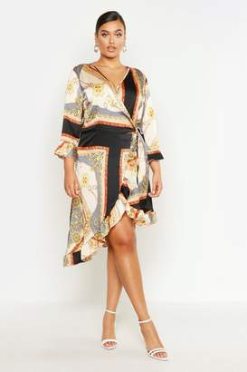boohoo Plus Satin Chain Print Ruffle Wrap Dress