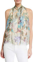 Moda Seta Printed Drape Halter Tie-Neck Silk-Blend Blouse