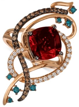 LeVian Le Vian Exotics Crazy Collection Pomegranate Garnet (4-1/2 ct. t.w.) & Diamond (5/8 ct. t.w.) Statement Ring in 14k Rose Gold
