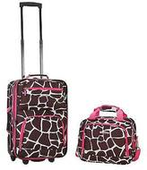 Rockland Rio 2pc Carry On Luggage Set - Pink Giraffe