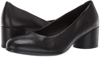 Ecco Shape 35 Mod Block Pump (Black Calf Leather) High Heels