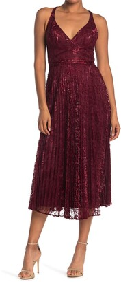 Laundry by Shelli Segal Lace Pleated Midi Dress