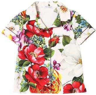 Dolce & Gabbana FLOWER PRINT COTTON POPLIN SHIRT