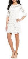 Jessica Howard Ruffle-Sleeve Floral Trapeze Dress