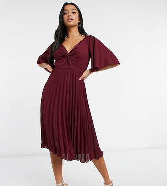 ASOS DESIGN Petite twist front flutter sleeve midi dress with pleat skirt