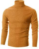 Ohoo Mens Slim Fit Narrow Ribbed Cotton Blend Turtleneck Pullover