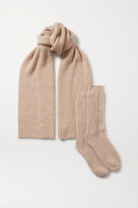 Johnstons of Elgin Ribbed Cashmere Scarf And Socks Set - Beige