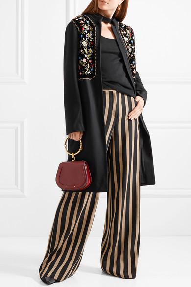 Vilshenko Fotina Embroidered Velvet-paneled Wool-blend Coat